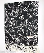 Leaves/Flower printed pashmina Long scarf stole wrap shawl Black/White #P22r