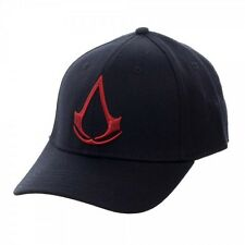 ASSASSINS CREED MOVIE LOGO FLEX FIT HAT CAP STRETCH CURVED BILL BLACK RED RETRO