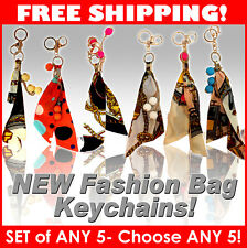 SET of 5 NEW Fashion silk design key chain for handbags bags accessory 6 designs