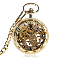 Gold Mens Steampunk Skeleton Mechanical Pocket Watch Retro Pendant Open Face