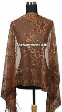 Handmade Lace FLORAL Pattern Scarf Shawl Wrap w/ Sequin & Crochet Fringe, Brown