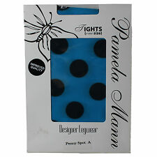 Ladies Tights Womens Pamela Mann One Size Nylon Penny Spots Flourescent Blue