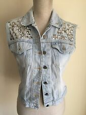 FCuk Women Waistcoat Jacket Light Studded Blue Denim Size S (8) (09)