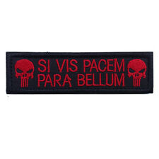 SI VIS PACEM PARA BELLUM PUNISHER RED TACTICAL USA ARMY MORALE SWAT VELCRO PATCH