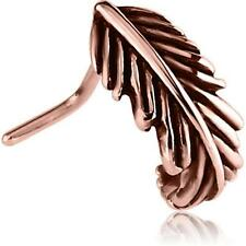 Rose Gold PVD Surgical Steel L Bend Nose Hugger Nose Stud Ring Feather 20G