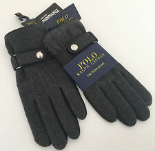 RALPH LAUREN TECH FRIENDLY GREY WOOL & LEATHER GLOVES WITH THINSULATE SIZE M