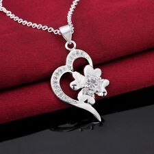 925 Silver Plated Crystal Heart Flower Pendant Chain Necklace 18 inch NF