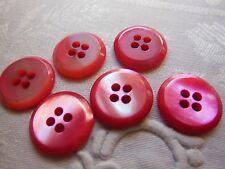 lot 6 boutons ancien en nacre rose  vintage diamètre: 2cm D17J