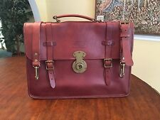 RALPH LAUREN Thick Cognac Saddle Leather Briefcase / Messenger bag