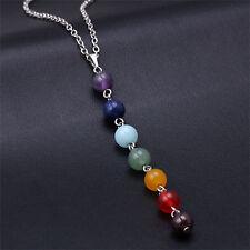7 Chakra Beads Pendant Chain Necklace lady Yoga Reiki Healing Balancing Jewelry