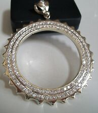 Silver Finish  Hip Hop Bling Rapper Style Fashion Circle Pendant