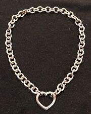 Tiffany & Co. Sterling Silver open heart clasp choker necklace w/Box