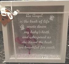 "WHITE FRAME ""AN ANGEL IN THE BOOK OF LIFE WROTE DOWN MY BABIES BIRTH"" PICTURE"