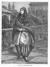 PERSIA A Lady in Indoor Dress - Antique Print 1885