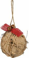 BURLAP BALL Christmas Ornament with Jingle Bell & Twisted Twig Accents, 3.25""