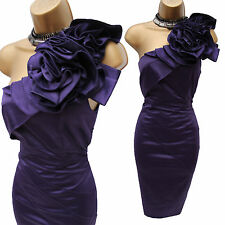 Karen Millen Purple Satin Rose Corsage One Shoulder Wiggle Cocktail Dress UK 10