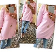 Women Loose Pullover T Shirt Three Quarter Tops Shirt Blouse Pink L