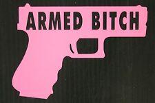 """Armed Bitch - Pink - 5"""" 2nd Amendment Gun Decal Sticker"""