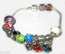 charm bracelet in snake chain style  with 12 mixed colourful charms new