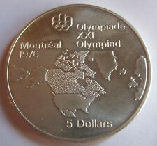 """1973 Canadian $5 Sterling Silver Coin """"North American Map"""" BU in Capsule  #5194"""