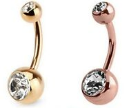 NEW Navel Belly Ring Gold Rose Gold Button Bar Body Piercing Jewelry Double Gem