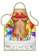 WOMEN'S FUN SEXY NOVELTY APRON,HAPPY BIRTHDAY GIRL IN CAKE WITH BOW, BBQ KITCHEN