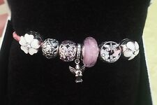 Authentic PANDORA Pink Double Leather Bracelet 590734CHP-D2 With Silver Charms