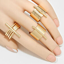 HOT Celeb Statement GOLD 3 Cuff Ring Set By Rocks Boutique