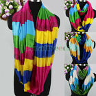 Fashion Women's Colorful Striped Infinity Circle Loop Silk Scarf Ladies Scarves