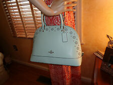 NWT COACH SIERRA  Border Stud CrossGrain Leather SEAGLASS SATCHEL 37238  $525