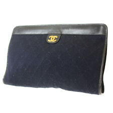 CHANEL Matelasse Quilted Clutch Bag Navy Canvas Leather Vintage Auth #9446 W