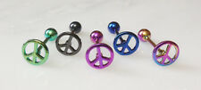 T#94 - 5pc Titanium Anodized Peace Sign Tongue Rings Tounge