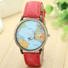 Men Women Watch Global Travel By Plane Map Casual Watch Denim Fabric Wrist Watch