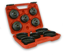 "11 Piece Oil Filter Cup / Cap Wrench Set - 1/2"" to 3/8"" Reducer + Plastic Case"