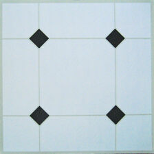 50 Vinyl Floor Tile Self Adhesive WHITE + BLACK DIAMONDS Area sqm 4.6 Unit 50