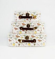 British Birds Shabby CHIC Vintage Set of 3 Storage Suitcases School Case Luggage