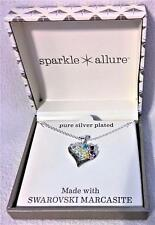 SILVER PLATED SWAROVSKI MARCASITE HEART NECKLACE PENDANT MULTI COLOR STONES NIB