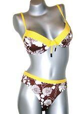 Triumph Bikini Set  -  85 C + 44 Tai  -  braun gelb weiß  col M003/T5  NEU