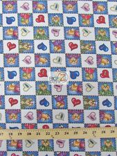 TEDDY BEAR DOCTOR CHECKER POLY COTTON FABRIC-Blue-POLYCOTTON 58/59 HIBISCUS- P31