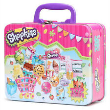 Shopkins Girls Storage Metal Tin Lunch Box Bag Carry All Gift Case NEW