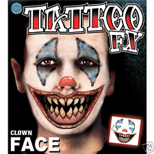 Clown Costume Face Kit Temporary Tattoo FX Tinsley Transfers Costume