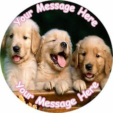 """CUTE PUPPIES DOG 7.5"""" ROUND ICING CAKE TOPPER"""