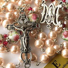 NICE PINK MOTHER-OF-PEARL ROSARY NECKLACE Coloured glaze ROSE BEAD ITALY CROSS