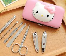 Cute HELLO KITTY Nail clipper Stainless steel Pedicaure Manicure tools set 7pcs