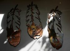 METAL WALL ART FEATHERS  SETof 3 COPPER/BRONZE PLATED BY HGMW