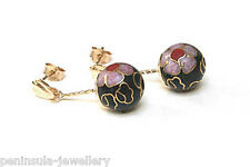 9ct Gold Chinese Black Enamel Ball Drop earrings Gift Boxed Made in UK