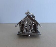 58  VINTAGE SILVER CHARM WEATHER HOUSE WITH MOVING FIGURES