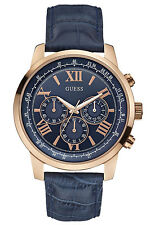 Guess Analog Watch With Blue Dial And Leather Strap For Men-W0380G5