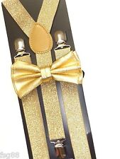 New Metallic Gold Bow Tie & Matching Suspender Tuxedo Wedding Accessories