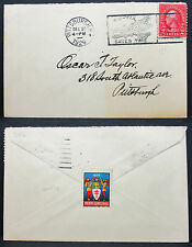 US Airmail Cover Pittsburgh Scott #583 WX38 Holiday Stamp USA Lupo Brief (H-7132